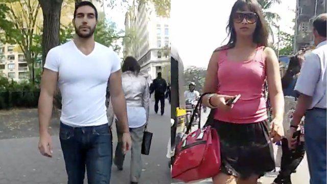People walking the street