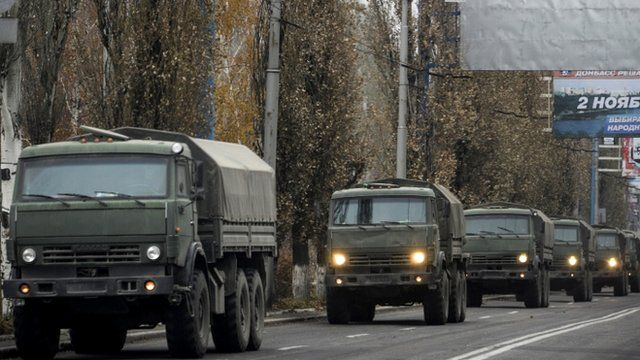 A convoy of unmarked military vehicles in Donetsk