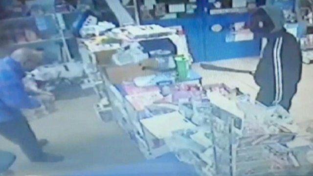CCTV footage of machete man