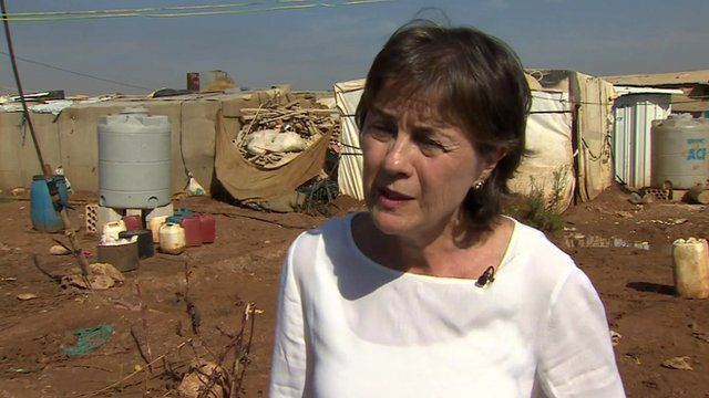UNHCR representative in Lebanon Ninette Kelley in a camp for Syrian refugees