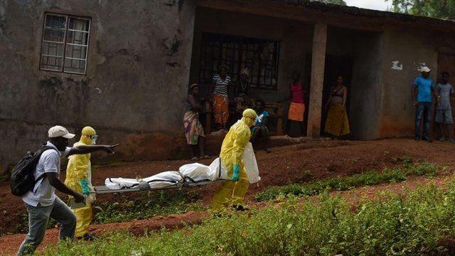 A burial team in Sierra Leone