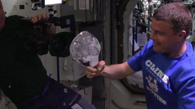 A water bubble on the International Space Station