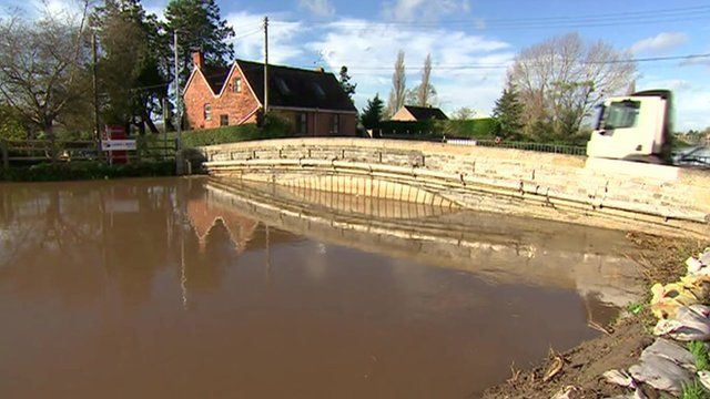 Flooded river in Burrowbridge