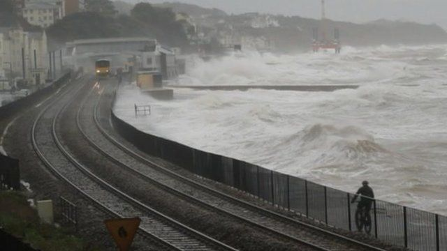 Dawlish seafront is battered by waves