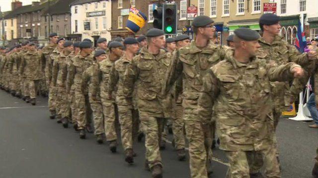 34 Squadron RAF Regiment walking down a street in Bedale