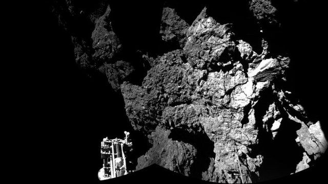 Rosetta's lander Philae safely on the surface of Comet 67P/Churyumov-Gerasimenko