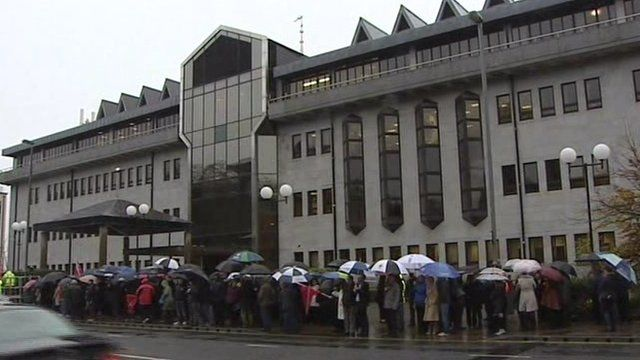Workers held a protest at the council offices on Thrusday