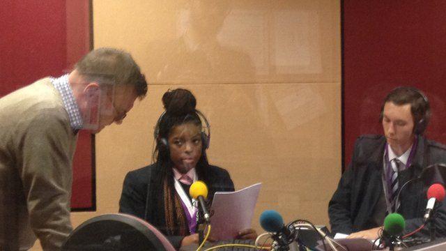 Alice and Callum preparing to record their broadcast