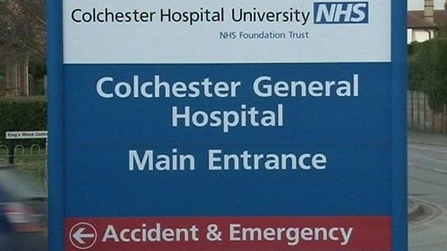 Colchester Hospital University main entrance signboard