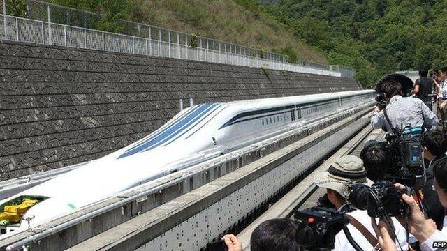 Experimental maglev Shinkansen train