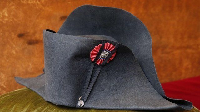 """A two-cornered hat """"bicorne"""" that belonged to French emperor Napoleon"""
