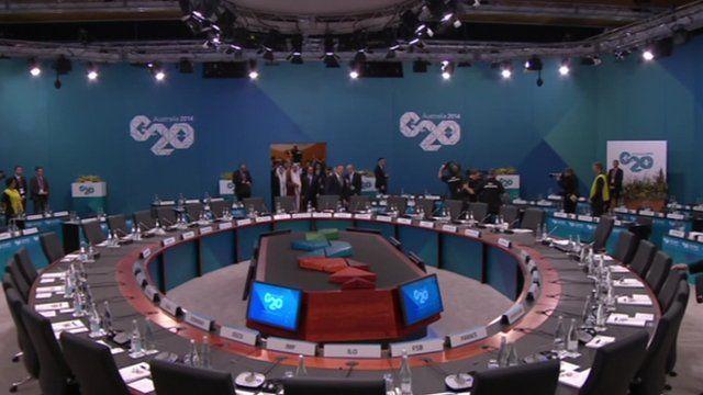 Empty table ahead of talks