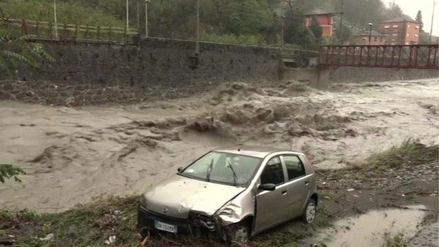 Car in river