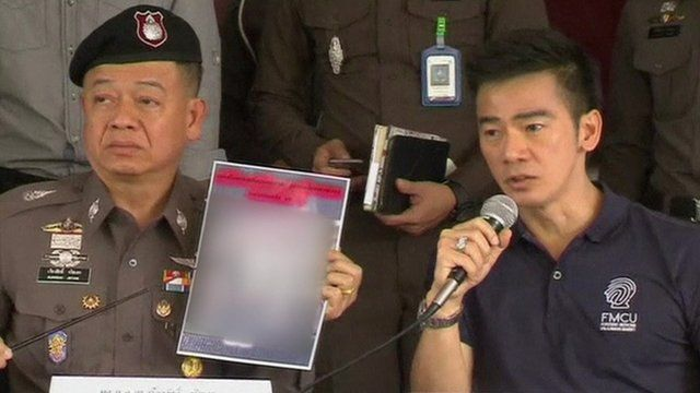Thai police hold a press conference