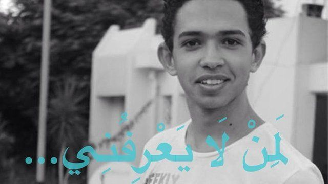 """Image of a young man, Tawfik Bensaud, with the caption """"to those who don't know me"""" in Arabic"""