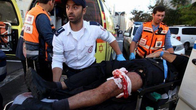 An injured man is taken to hospital