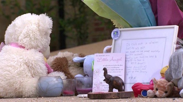 Toys left outside Tania Clarence's house by the public