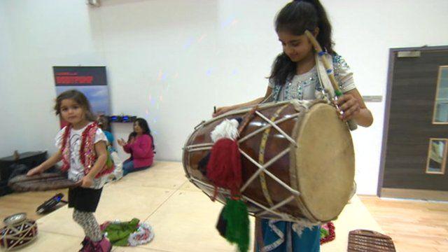 Two kids performing bhangra