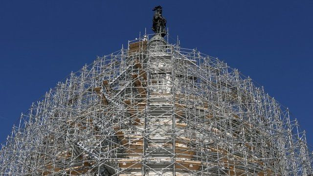 Scaffolding surrounds the Capitol Dome