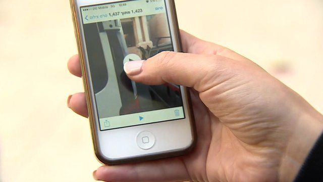 Mobile phone showing footage