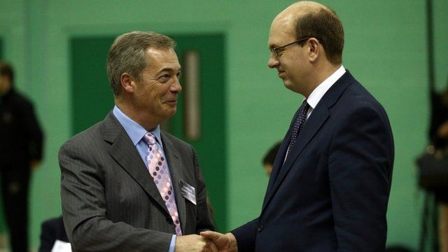 United Kingdom Independence Party (UKIP) leader Nigel Farage (L) shakes hands with Mark Reckless