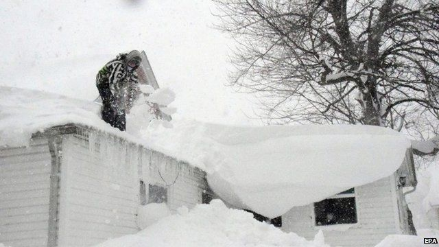 Man shovelling snow off roof