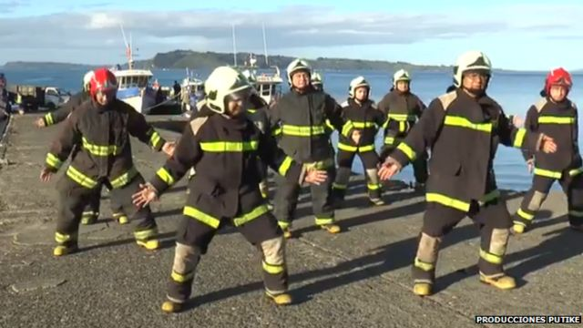 Dancing firemen in Chile