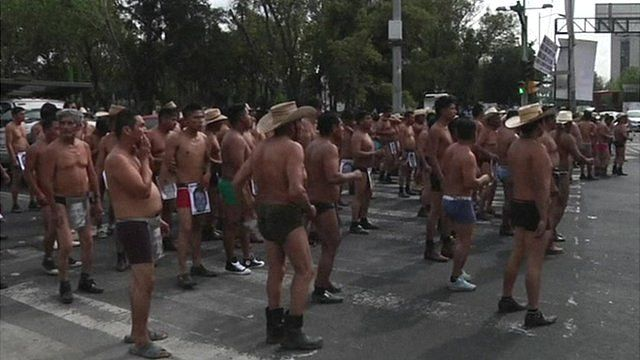 Mexican farmers protesting in their underwear