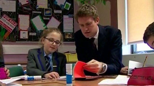 Shadow Education Secretary Tristram Hunt in a classroom