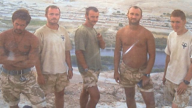 L/Cpl Stu Hale (left) with his fellow soldiers in Afghanistan