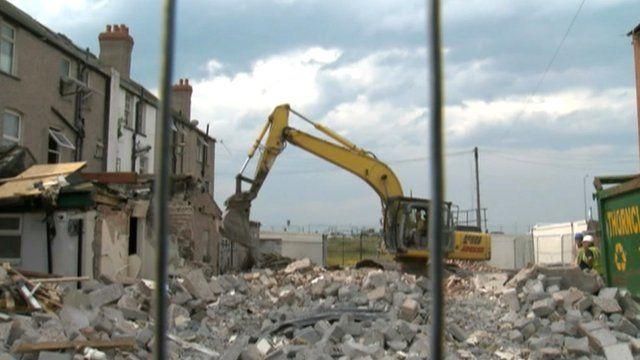Demolition work in Rhyl