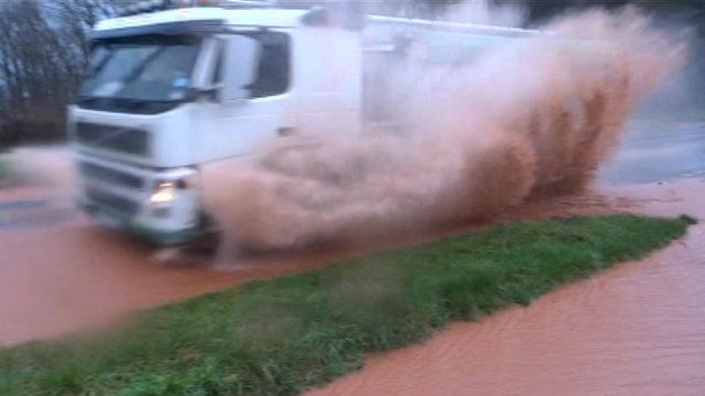 lorry going through puddle