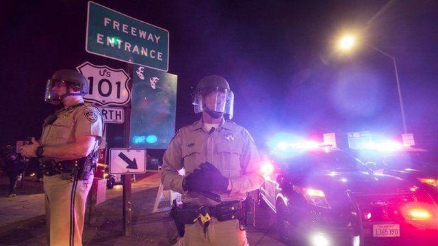 Police block demonstrators in Los Angeles on 26 November