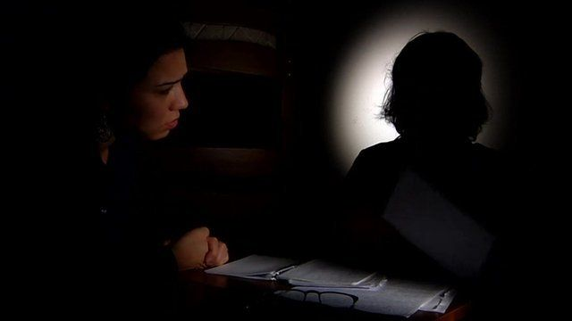 A domestic violence victim talks to BBC's Rayhan Demytrie.
