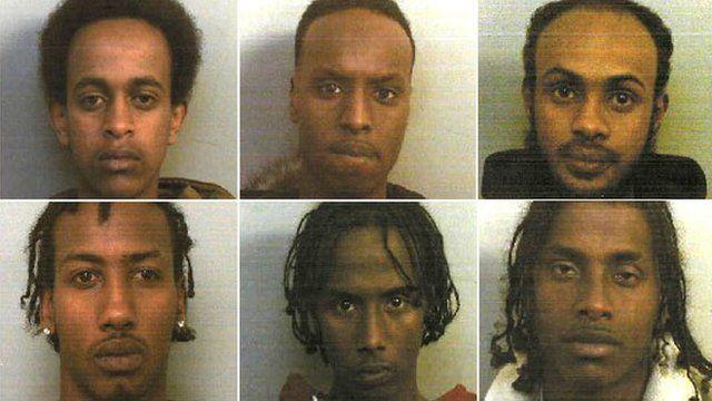 From top left, clockwise, Mustapha Farah, Liban Abdi, Mustafa Deria, Idleh Osman, Abdulahi Aden, and Arafat Osman