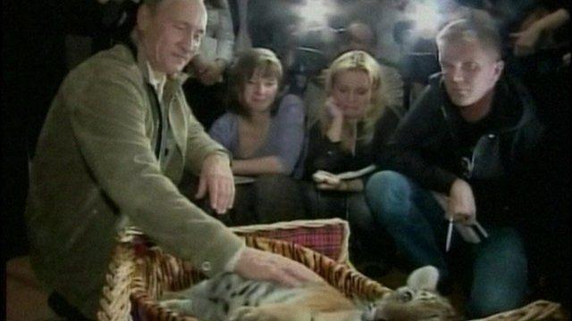 Putin with a tiger cub