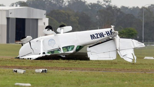 A light plane is badly damaged at Archerfield aerodrome in Brisbane's south, Australia