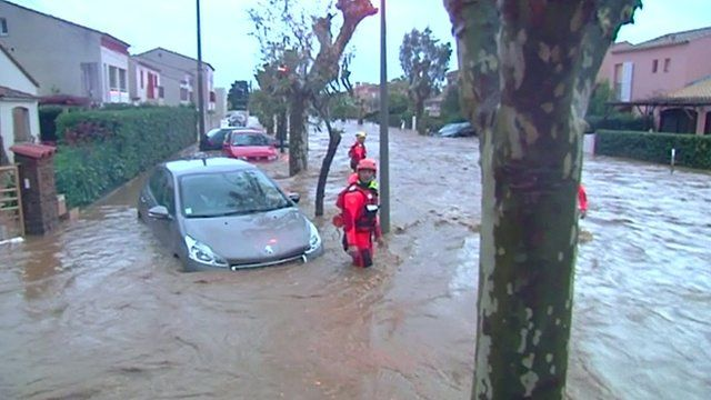 A car in flood water