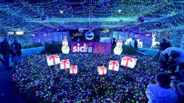 The Christmas light display