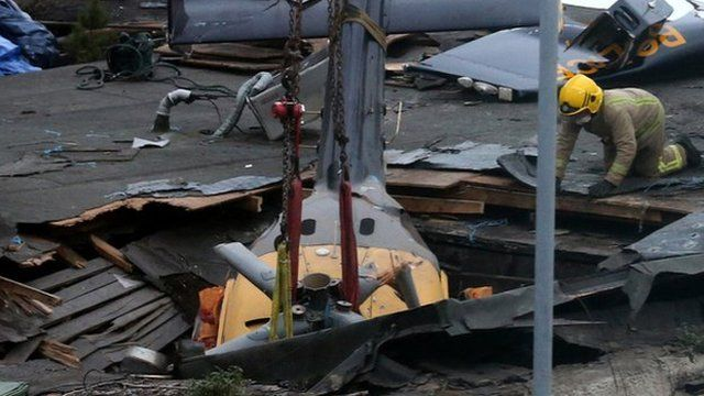 Helicopter wreckage at the Clutha Bar