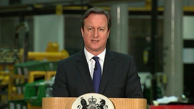 PM David Cameron making speech about plans to curb benefits for immigrants