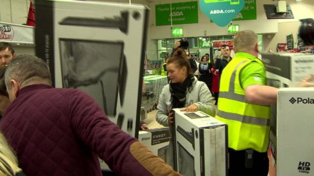 Shoppers swarmed supermarkets across Northern Ireland to get discounted items