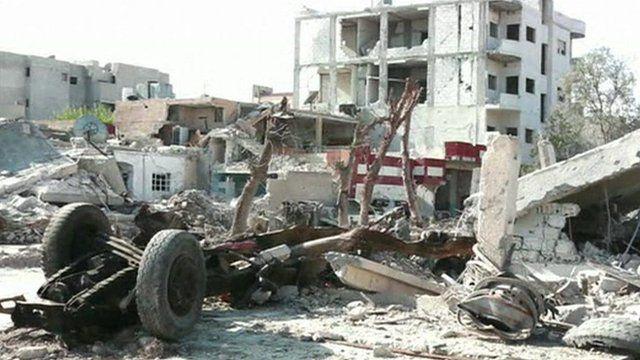 Rubble in Kobane