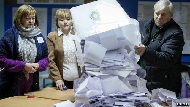 Electoral commission members empty a ballot box in Chisinau, Moldova. Photo: 30 November 2014