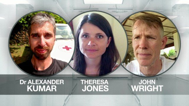 British volunteers: Alexander Kumar, Theresa Jones, and John Wright