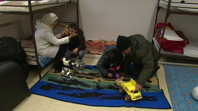 Syrian asylum seekers in a refugee camp in Germany
