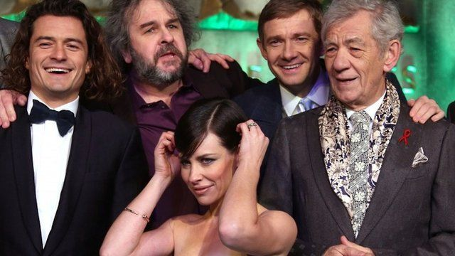Actor Orlando Bloom, director Peter Jackson, actor Martin Freeman, Sir Ian McKellen and Evangeline Lilly, front, at the World premiere of the film The Hobbit