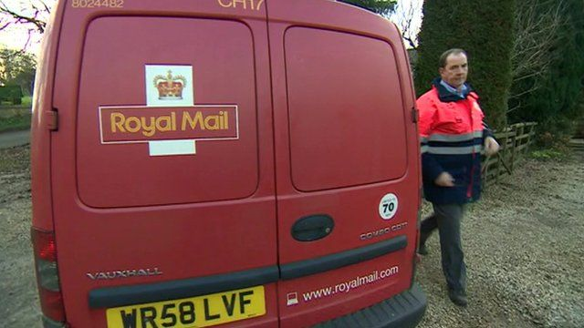 A Royal Mail van and a postman