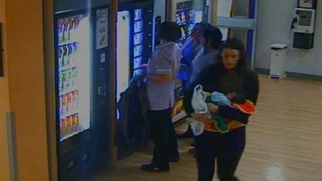 CCTV screenshot of Charlotte Bevan carrying her baby