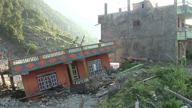 The remains of Mankha village in central Nepal